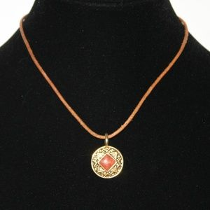 Beautiful vintage necklace with gold medallion
